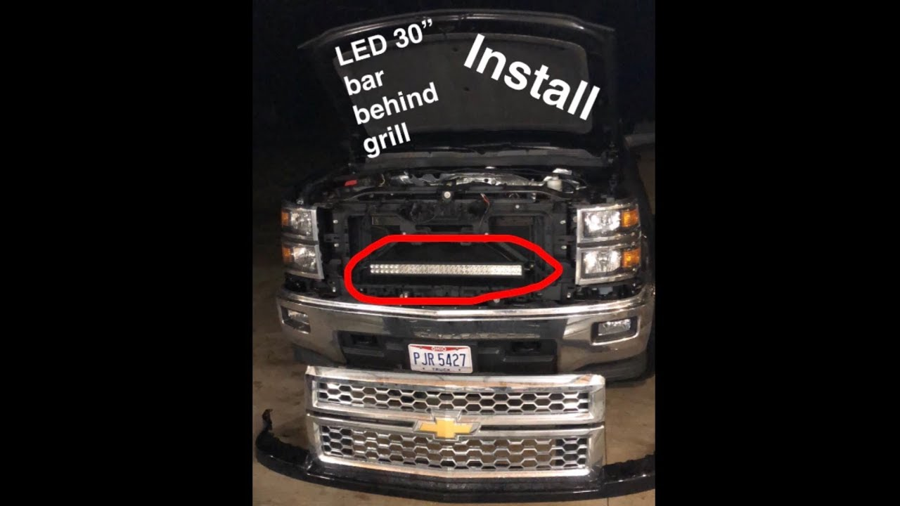 "How To Install 30"" LED Light Bar Behind Grill Chevy/GMC ..."
