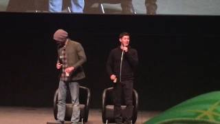 Supernatural AHBL8 2017- Jared accidentally kicking Jensen in the face.