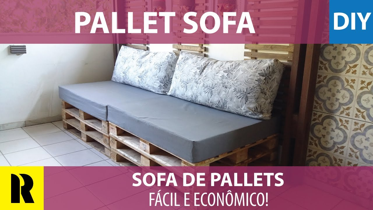 sof de pallets f cil de fazer do it yourself pallets. Black Bedroom Furniture Sets. Home Design Ideas