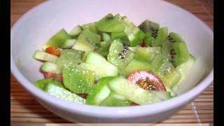 Рецепт Салата «Весенний вечер» киви, свежий огурец, помидоры