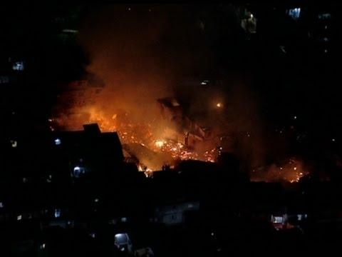 Raw: Aerials of Sao Paulo Shanty Town Fire