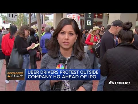 Uber drivers protest outside company's San Francisco headquarters ahead of IPO