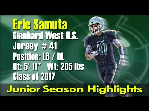 Eric Samuta LB Glenbard West 2015 Junior Season Football Highlights (HD)
