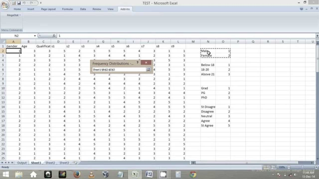 how to make frequency distribution in excel 2011