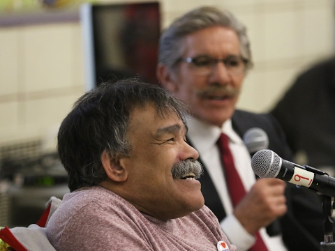 Geraldo Rivera and Bernard Carabello visit Staten Island's Hungerford School