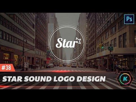 Star Sounds Effect waves Clean Logo Design - Photoshop Tutorial