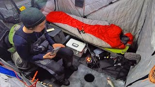 Early Ice Camping F๐r Walleye In a Small Tent