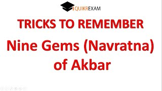 Tricks To Remember Nine Gems (Navratna) of Akbar