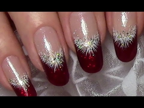 klassische weihnachtsn gel in rot mit puschel und glitzer selber machen christmas nail art. Black Bedroom Furniture Sets. Home Design Ideas
