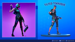 FORTNITE *TILTED TEKNIQUE* (BLACK HOODIE) SKIN SHOWCASE (BACKBLINGS AND EMOTES)