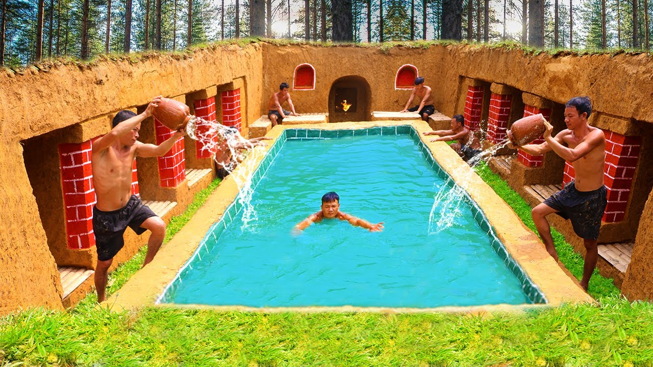 How To Build The Most Amazing Swimming Pool Water Slide Around Underground House Youtube