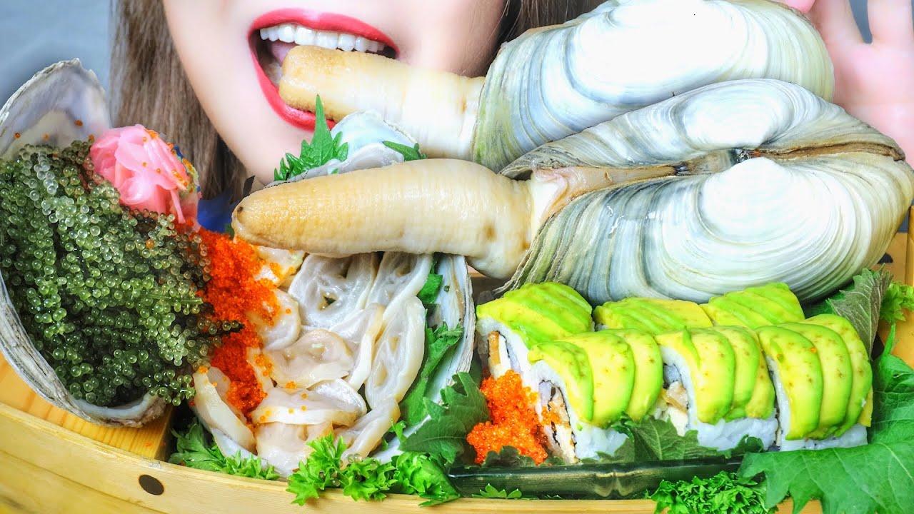 ASMR EATING GEODUCK SASHIMI X SUSHI X SEAGRAPES X TOBIKO EGGS , EATING SOUNDS   RAW FOOD   LINH-ASMR