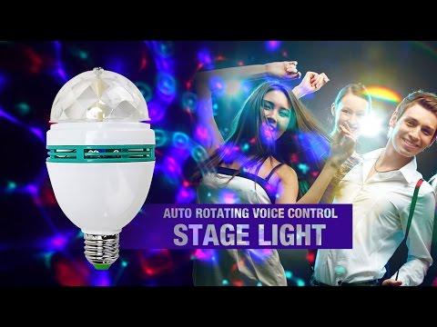 E27 3W 3-LED RGB Auto Rotating Voice Control Stage Light hlt-498350