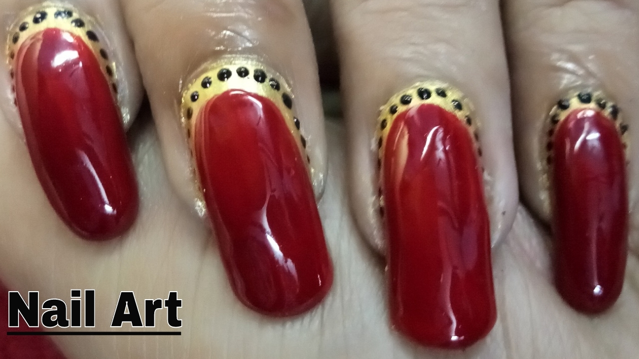 Easy Nail Art Designs Ideas Video Using Red Black Golden Nail Polish ...