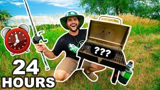 EATING ONLY what I CATCH for 24 HOURS Survival Challenge!!!! (Public Land Only)