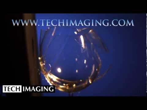 High Speed Camera Video - Wine glass breaking by sound waves