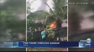Firefighters keep Aiea garage fire from spreading to home