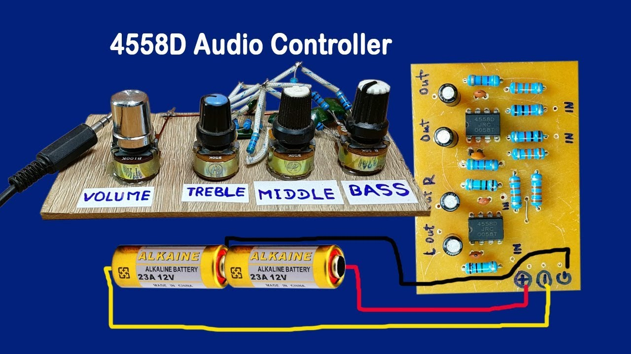 medium resolution of ic 4558d audio volume controller circuit bass circuit 4558 simplest audio amplifier circuit