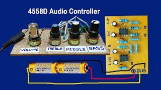 IC 4558D Audio Volume controller circuit | Bass Circuit 4558 | Simplest Audio Amplifier Circuit