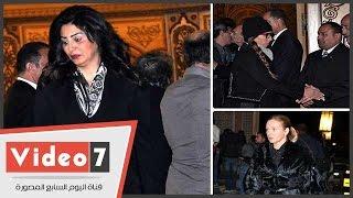 وفاء عامر وشيرين رضا ومنى زكى وزينة فى عزاء زوجة الفنان محمد صبحى