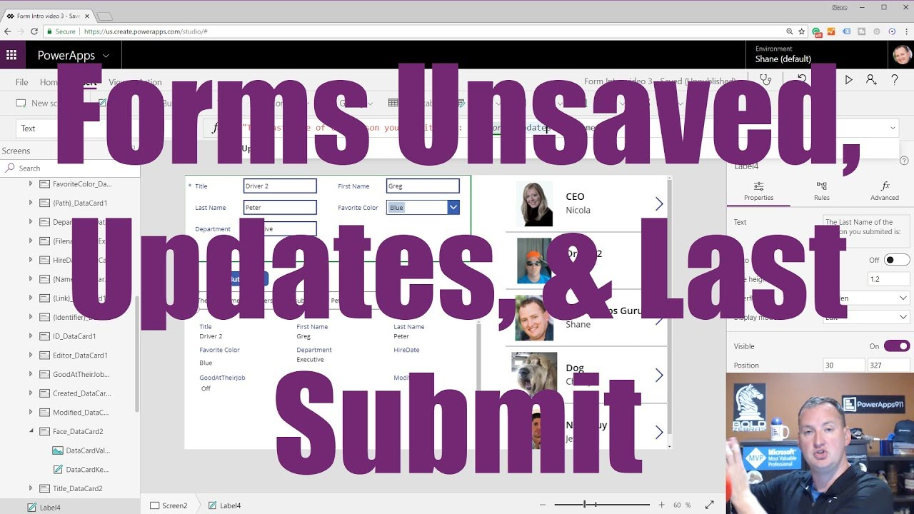 PowerApps Forms - LastSubmit, Updates, UnSaved