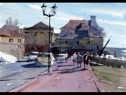 How to paint a French scene with figures and cars - Watercolour Demonstration by Tim Wilmot #14