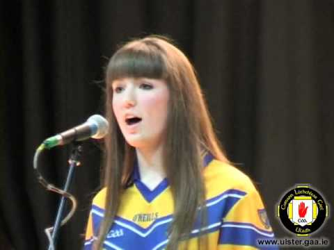 Eileen Muckian (Silverbridge GAA) performs Amhrán na bhFiann at the Ulster Scór na nÓg Final 2011