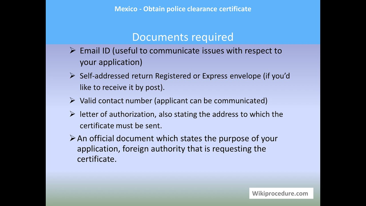 Mexico - Obtain police clearance certificate
