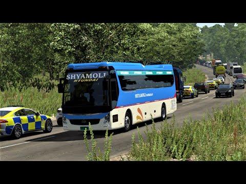 Hyundai thrilling bus driving & chasing   Euro Truck Simulator 2 Bus   SHYAMOLI Hyundai UXN.