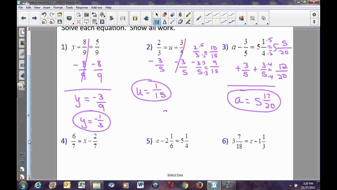 Pre Algebra Lesson 5 7 Solving Equations By Adding Or Subtracting Fractions