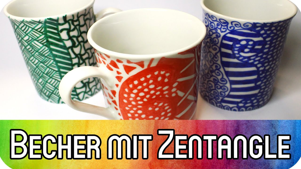 becher mit zentangle gestalten diy speedpainting geschenkidee kreativbunt youtube. Black Bedroom Furniture Sets. Home Design Ideas