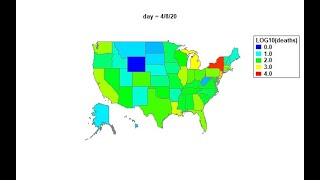 Daily Change of COVID-19 Related Deaths in the US (Geographic Map using Regions)