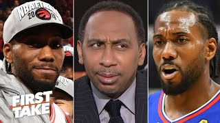 Would Kawhi have a better title shot with the Raptors? Stephen A. says no | First Take