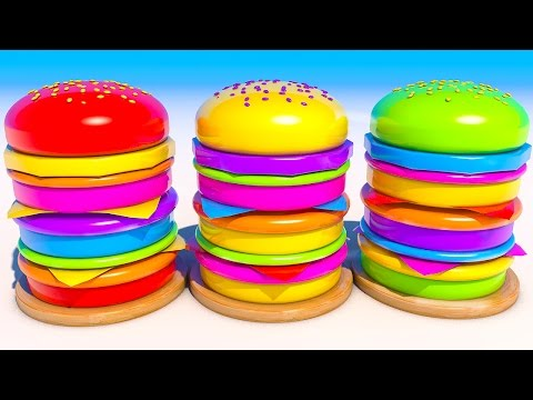 Thumbnail: Teach Colors with Mega Burgers for Kids and Children Learning Video