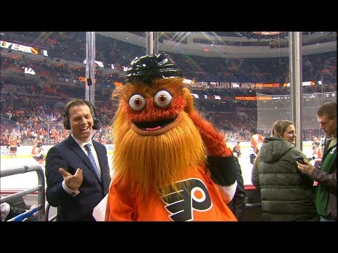 Gritty crashes Kings pregame to cover broadcasters in silly string