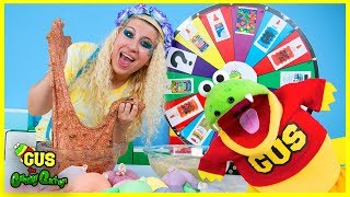 3 colors of glue slime challenge mystery wheel!!!