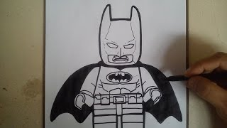 COMO DIBUJAR A BATMAN LEGO - LEGO MOVIE / how to draw batman lego - lego movie