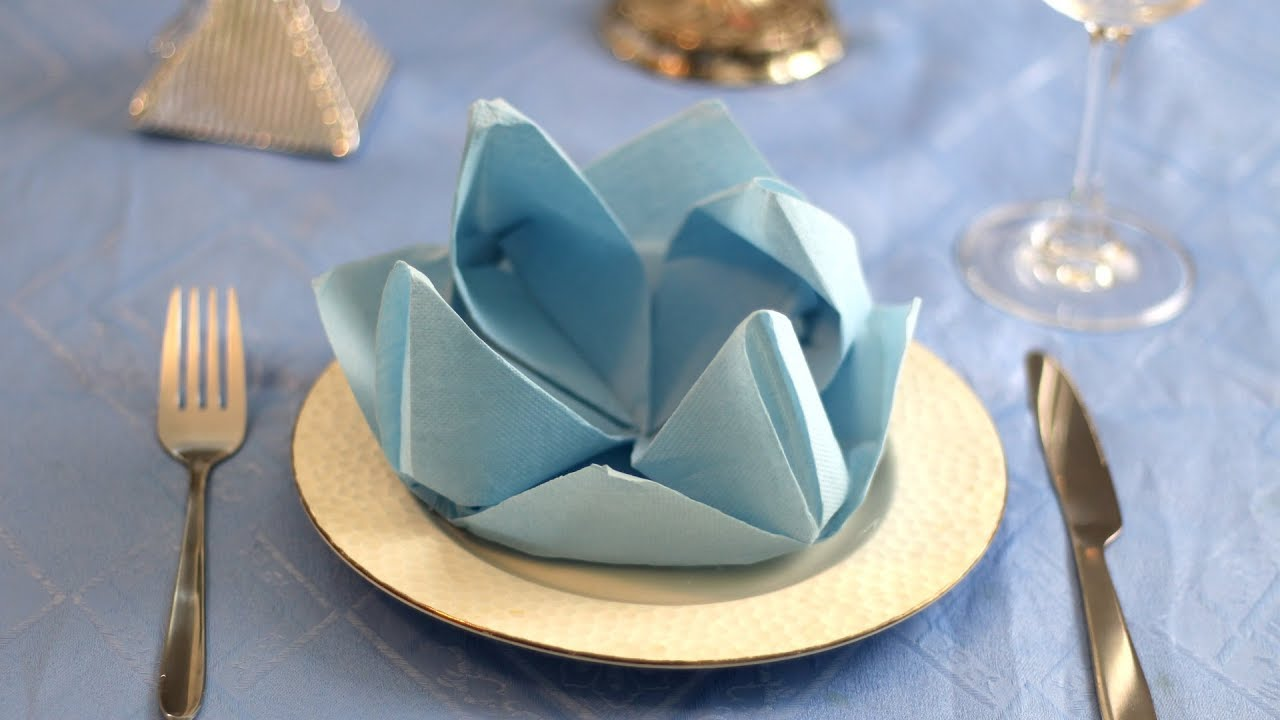 Water Lily Flower Napkin Folding Instruction (Table