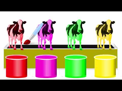 Colors painting cow for kids to learn by ink jar and Nursery Rhymes song