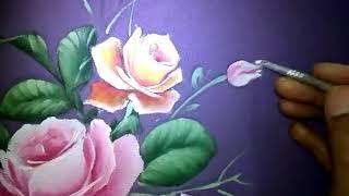 Rosebud Painting Tutorial on Fabric Textile, cara melukis bunga mawar, melukis kuncup bunga mawar