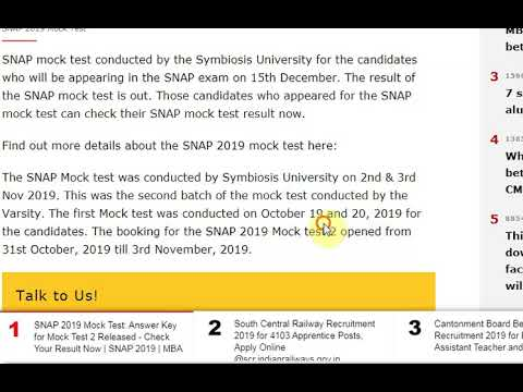 SNAP 2019 Mock Test: Answer Key for Mock Test 2 Released - Check Your Re...