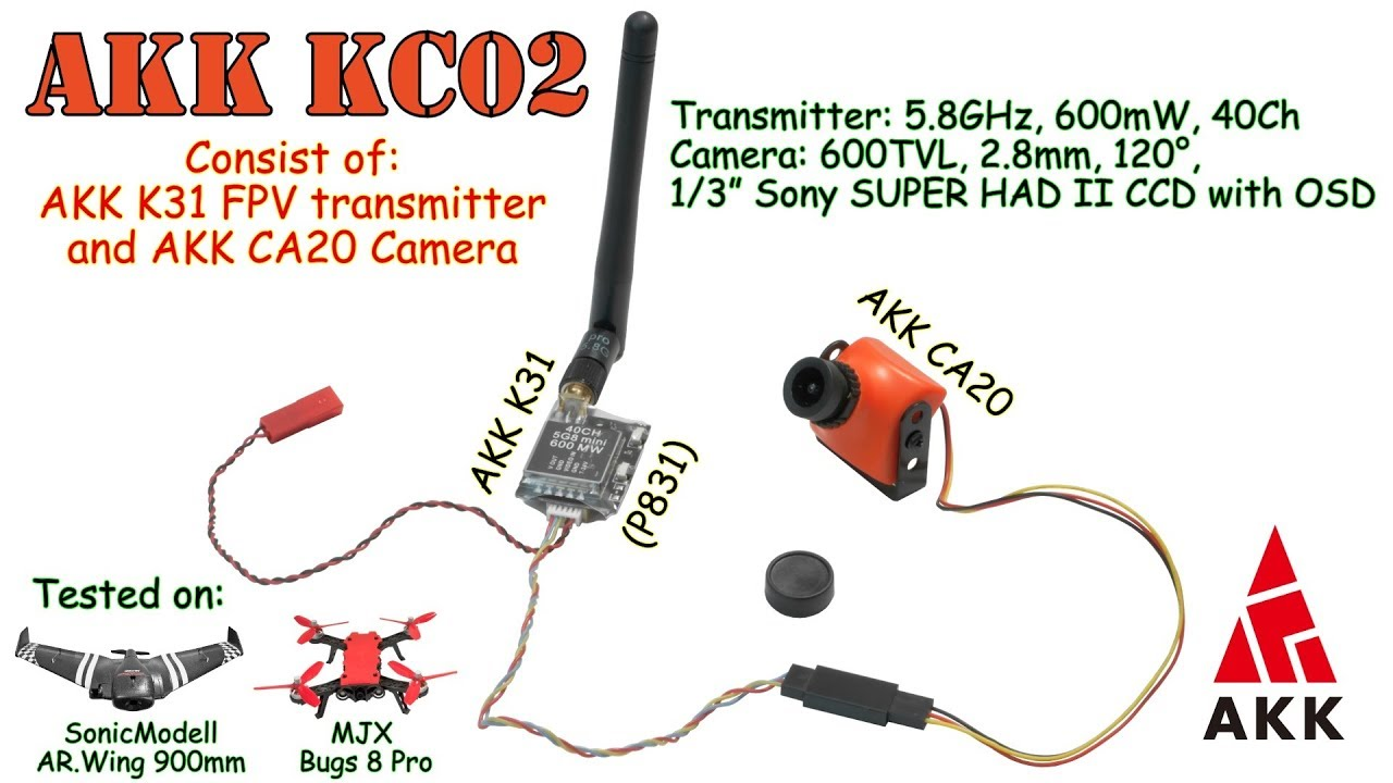 akk kc02 5 8ghz, 40ch, 600mw - fpv transmitter, 600tvl, 2 8mm, 1/3 ccd  camera (+ fpv flights)