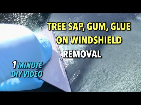 How to Remove Gum, Tree Sap, Tape Residue from Windshield / Glass - 1 Minute DIY Video