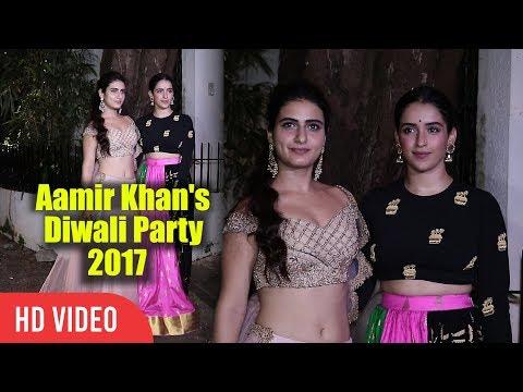 Two Gorgeous Dangal Girls Fatima Sana Shaikh And Sanya Malhotra At Aamir Khan's Diwali Party 2017