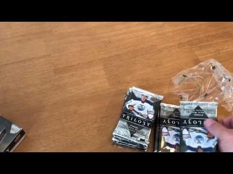 Unboxing 16-17 Upperdeck Trilogy NHL hockey cards mcdavid Gretzky hall of fame Crosby hull