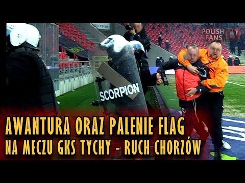 Awantura oraz palenie flag na meczu GKS Tychy - Ruch Chorzów (31.03.2018 r.)