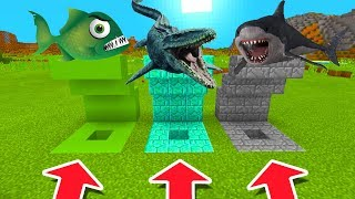 Minecraft PE : DO NOT CHOOSE THE WRONG HOLE! (Piranha, Mosasaurus & Megalodon)