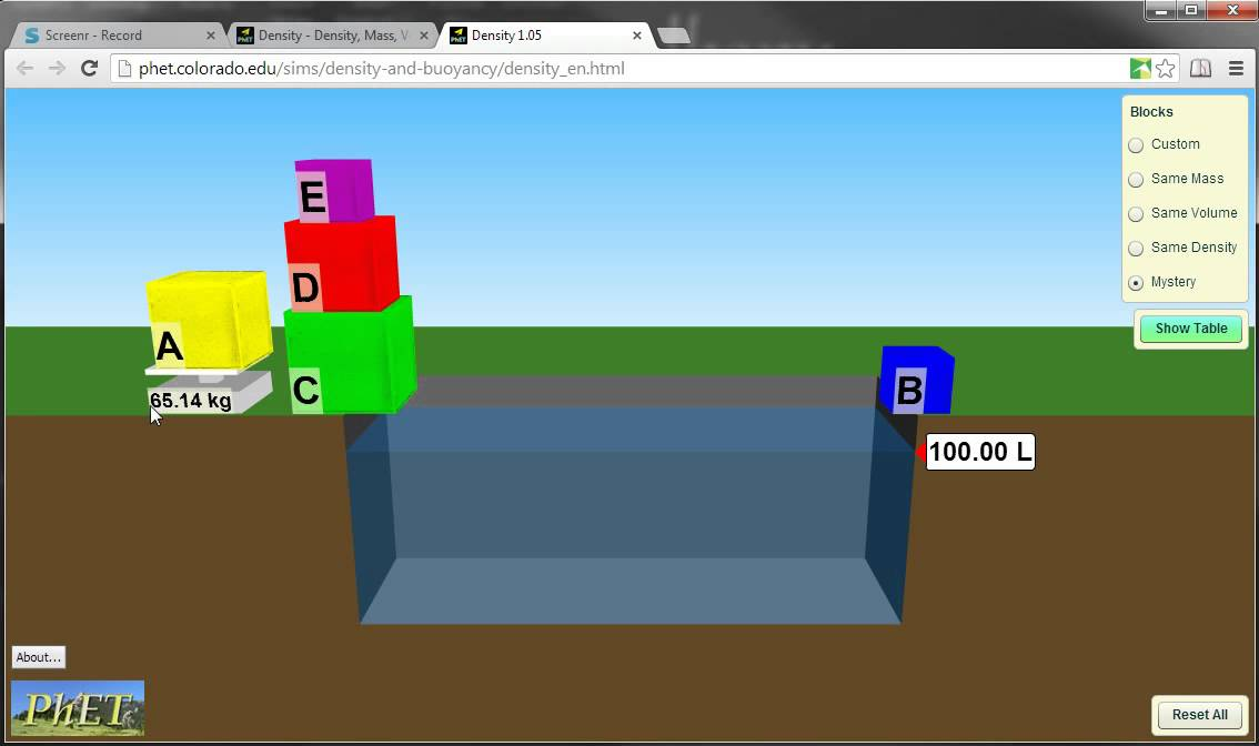 How to use the PHET Density simulator. - YouTube