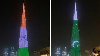 Pakistani & Indian Flags Displayed on Burj Khalifa Dubai - August 2019