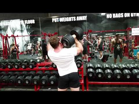 One arm dumbbell shoulder press 60kg x 5